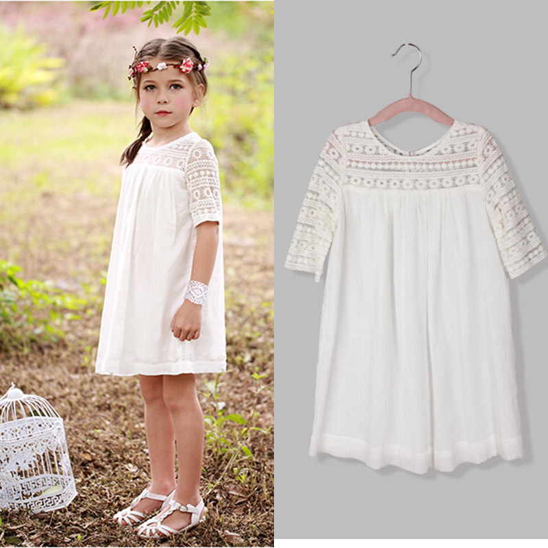 2015 Cotton Lace Girls Dress 4 to 10Y Casual Hot Summer Party Dress for Girls(China (Mainland))