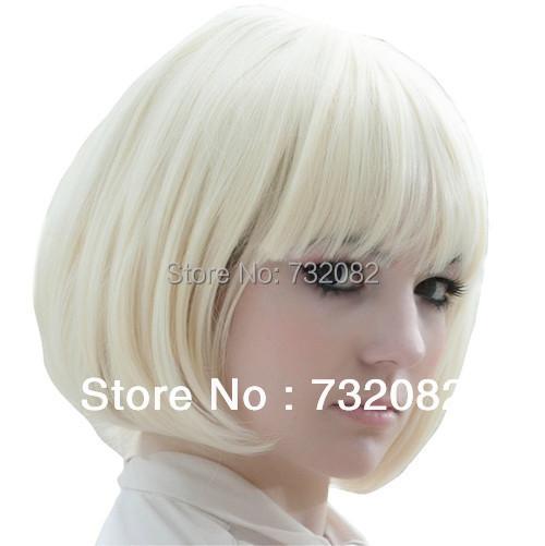 Popular Kanekalon Short Straight women BOB Wig Heat Resistant Synthetic Hair Creamy White Blonde E3270-white - Shenzhen HTY Technology Co., Ltd. store