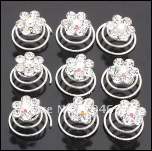 120pcs Clear Crystal Flower Twists Spins Hair Pins Bridal Hairpin Fashion Wedding Jewelry Hair Ornaments Accessories