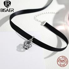 Мода Татуировки Ожерелье Чокеры Черный Стерлингового Серебра 925 Краткое Корона Черный Чокеры Ожерелье для Женщин Европейская Мода Ювелирные Изделия(China (Mainland))