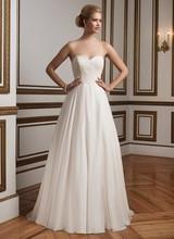 Sweetheart Silk Chiffon Skirt Vestido De Noiva Elegance For Timeless Bride Lace Appliques Strapless A-Line Beach Wedding Dress(China (Mainland))