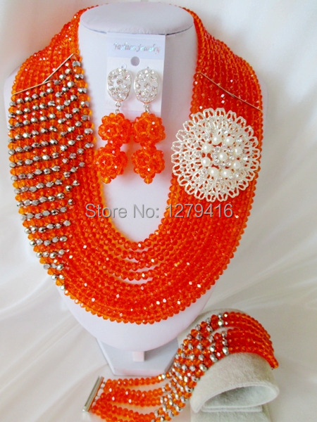 Fashion Nigerian African Wedding Beads Jewelry Set , Crystal Necklace Bracelet Earrings Set C1210<br><br>Aliexpress