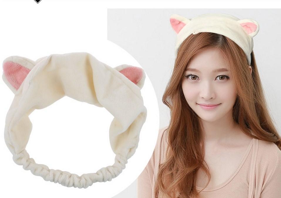 1PC New Korean Velvet Cat Ear Headband Women Hair Accessories Wash Shower Cap Head Ornaments Elastic Hair Band Headband(China (Mainland))