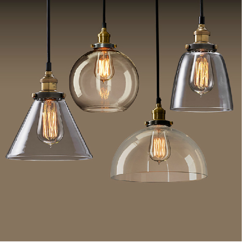 New Vintage Clear Glass Pendant Light Copper Hanging Lamps E27 110/220V Light Bulbs For Home ...