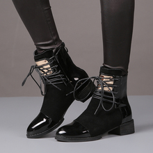 Buy 35-43 Women Boots Genuine Leather Flat Martin Ankle Boots Womens Motorcycle Boots Autumn Shoes Women Winter Patent leather Botas for $25.00 in AliExpress store