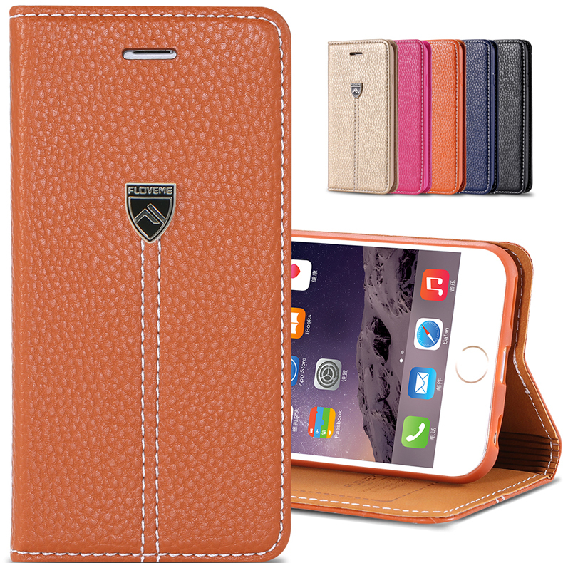 Floveme Noble Lychee Grain Leather Flip Case For iphone 6 Invisible Magnet Wallet Stand With Card Holder Cover For iphone 6 plus(China (Mainland))