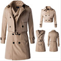 2016 autumn and winter high end men s trench coat fake two long section of