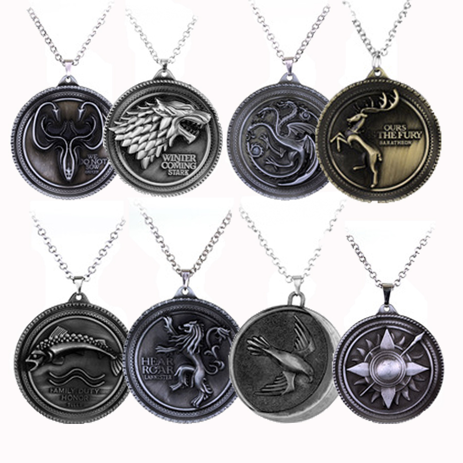 Game Of Thrones Daenerys House Targaryen Three Headed Dragon Pendant Necklace Metal Pendant Gift Movie Jewelry Free Shipping(China (Mainland))