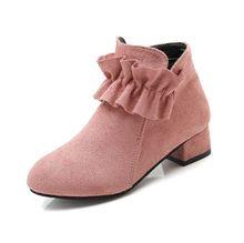 בנות מרטין מגפי נעלי אביב סתיו צאן עור תינוק ילדי מגפי אופנה ילדי מגפי חם חורף מגפי botas שחור אדום(China)