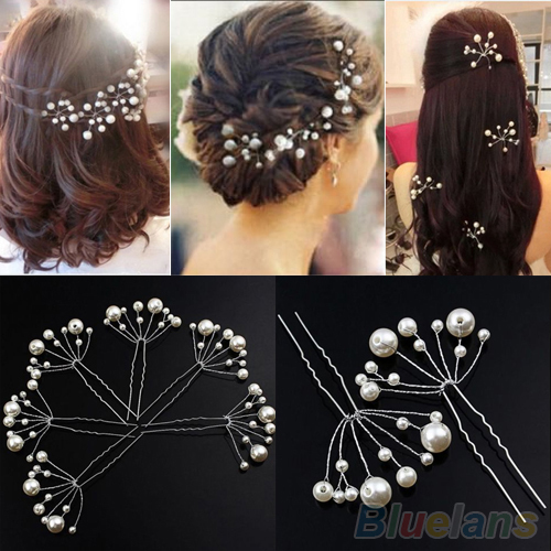 Fashion New Wedding Bridal Bridesmaid Pearls Hair Pins Clips Comb Headband 1OS3 39AO(China (Mainland))