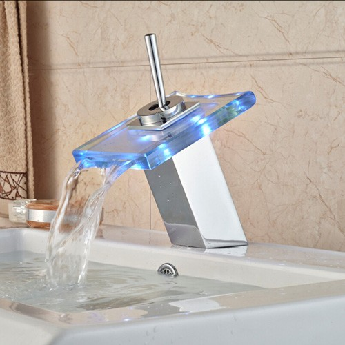 acheter gros led light salle de bains cascade led robinet en verre cascade lavabo mitigeur pont. Black Bedroom Furniture Sets. Home Design Ideas