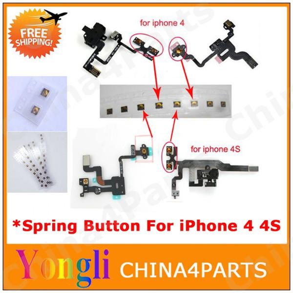 20pc Power sleep button micro spring piece terminal sticker for iphone 4 4s power flex headphone audio jack flex cable Free Ship