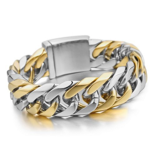 Men's Stainless Steel Wide bracelet Link Wrist Gold and silver plating,stainless steel biker jewelry(China (Mainland))