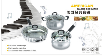 12pcs silicone handles Classic  Stainless Steel Cookware set//Milk pot/Casserole/Soup pot