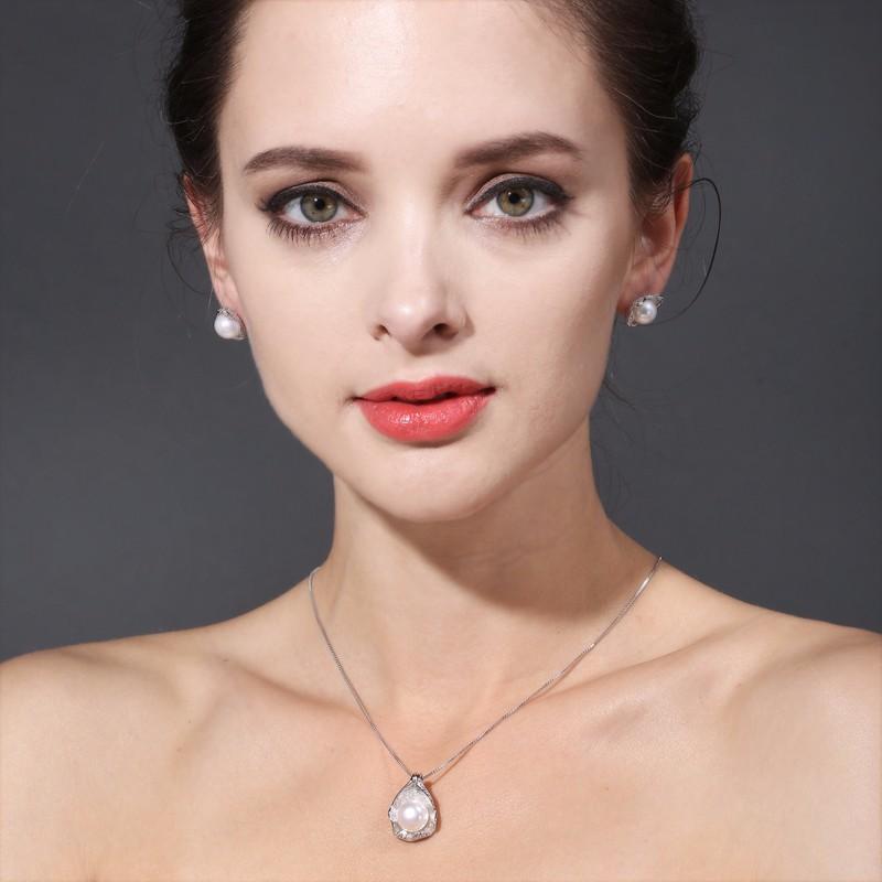 HTB1 bMyOFXXXXcsXXXXq6xXFXXXh - FENASY charm Shell design Pearl Jewelry,Pearl Necklace Pendant, 925 sterling silver jewelry ,fashion necklaces for women 2016
