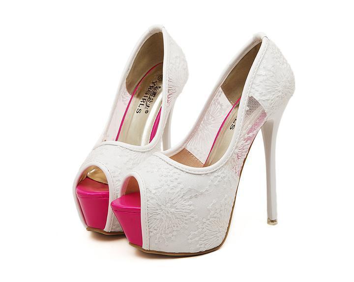 Aliexpress.com : Buy Pink Stiletto Heels Peep Toe Lace Women Shoes