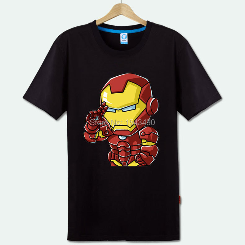 Superhero iron man ironman anime figure printed t shirt for Iron man shirt for men