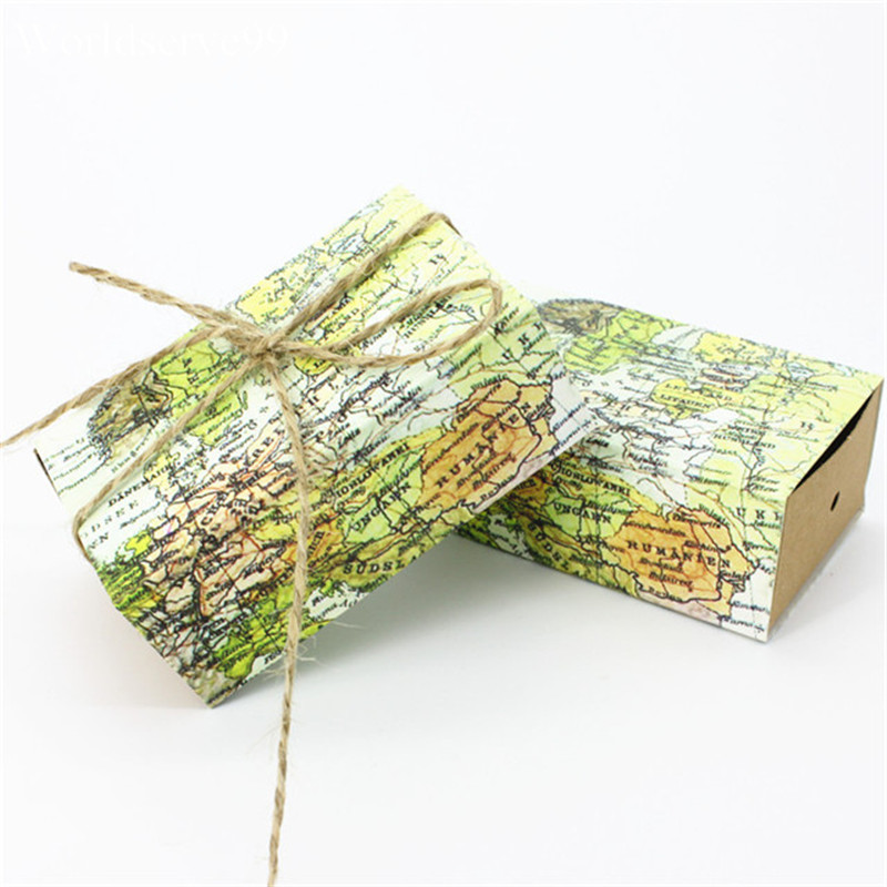 2016 World Map Kraft Paper Wedding Candy Boxes Rustic Jute Ribbon Sweet Cookie Holder Birthday Party Gift Favor Box()