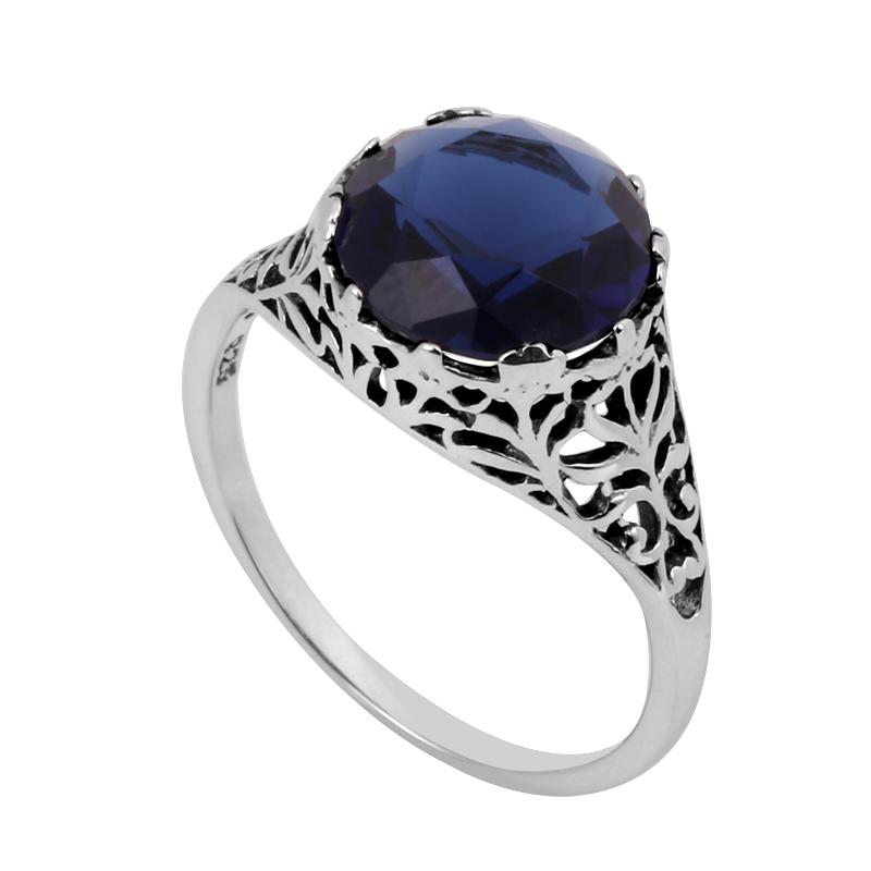 Fine jewelry wholesale sales fashion border flowers Edwardian wedding band 3.5 ct sapphire women 925 sterling silver ring(China (Mainland))