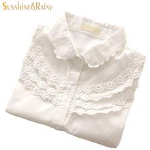 Women Blouse Long Sleeve Crochet Cotton100% Camisas Blusa Femininas Casual Ladies White Shirts Work Tops Shirt Clothing Wear(China (Mainland))