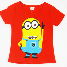 New 2015 boys Girls T Shirt Despicable Me 2 Minions Short Sleeve Baby Children T shirts