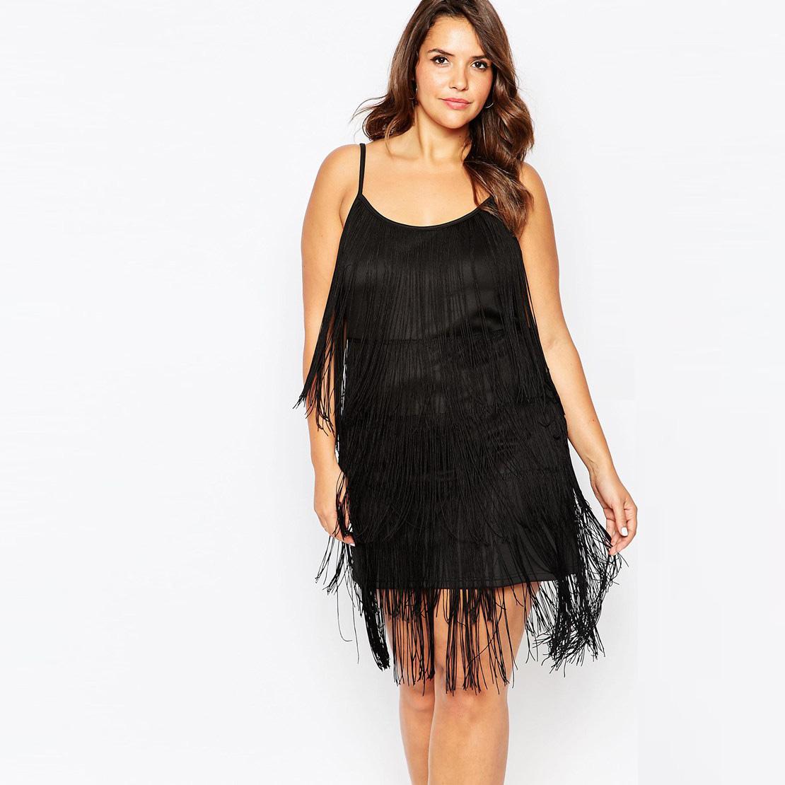 Fashion America Style Women Elegant Plus Size 5xl 4xl Xxxl Tassel Dresses Vintage O-neck Sleeveless Spaghetti Strap Club DressОдежда и ак�е��уары<br><br><br>Aliexpress