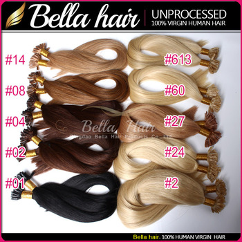 (10 Colors Available) 6A Indian Pre-Bonded U Tip Hair Extensions Human Hair Straight 20 24inch Keratin Fusion Hair Extension