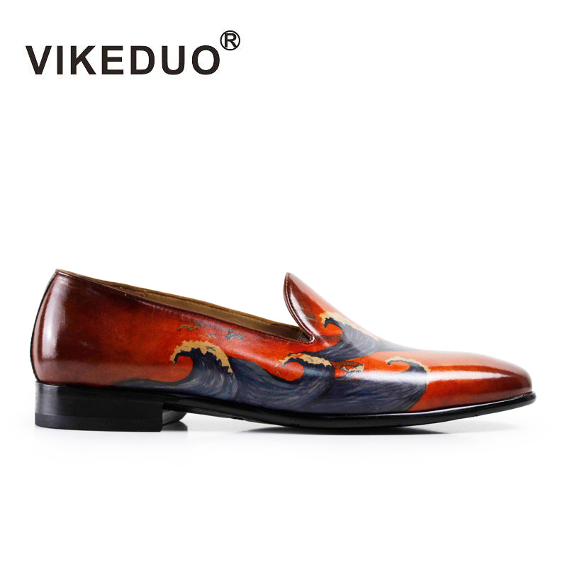 Newest 2016 Mens flat shoes italian pattern Loafers hand printing 100% Genuine leather Shoes exclusive design Second To Berluti(China (Mainland))