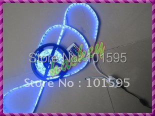 5050 RGB LED Strip Flexible LED Rope Light 300leds/ 5M Non-Waterproof & 24key IR Remote Free