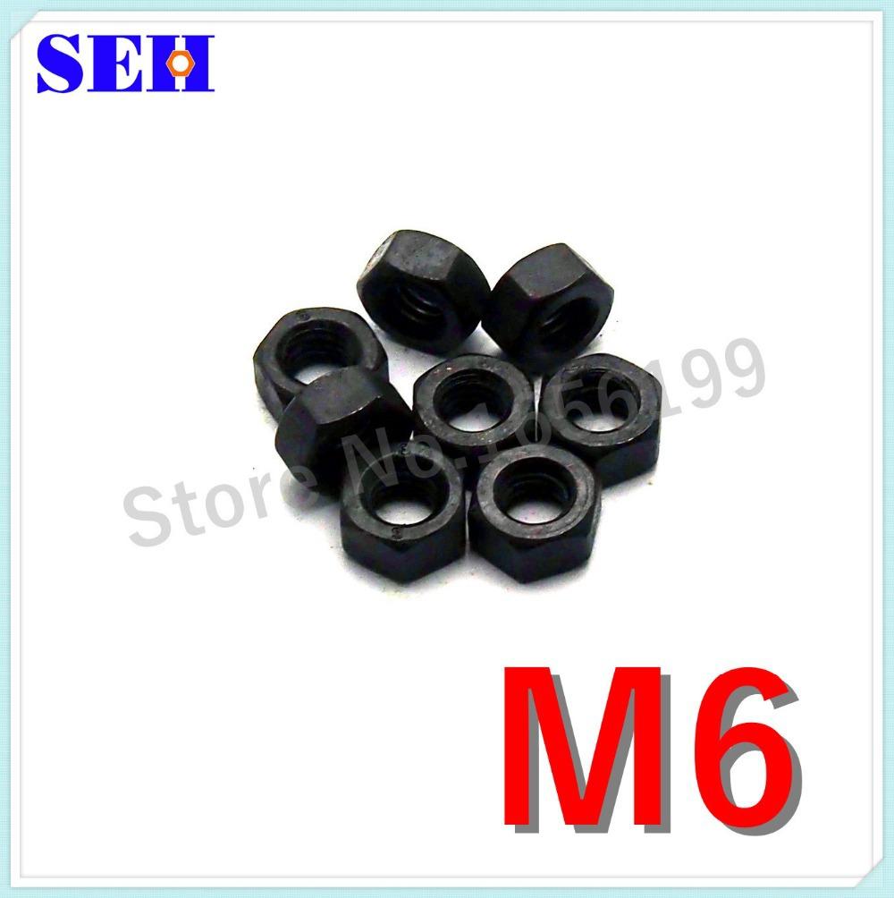 1000pcs M6 Nut Carbon Steel Grade 8.8 Black High Strength Hex Nut Stainless Pop Thread Nut<br><br>Aliexpress