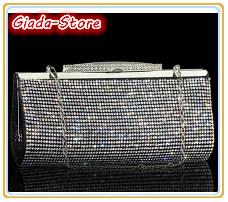2015 Luxury Bling Rhinestone Party Evening Bag Women Handbag Purse. Upscale Full Diamond Clutch Shoulder Bag. Black Gold Silver