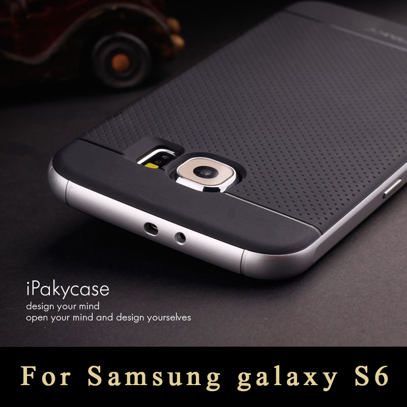 Samsung Galaxy S6 G9200 Case Top Luxury Silicone Armor Back Cover + Plastic Frame Protective Shockproof Phones cases