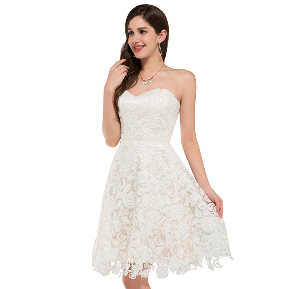 Ivory Vintage Lace Short Wedding Dresses Beach Style