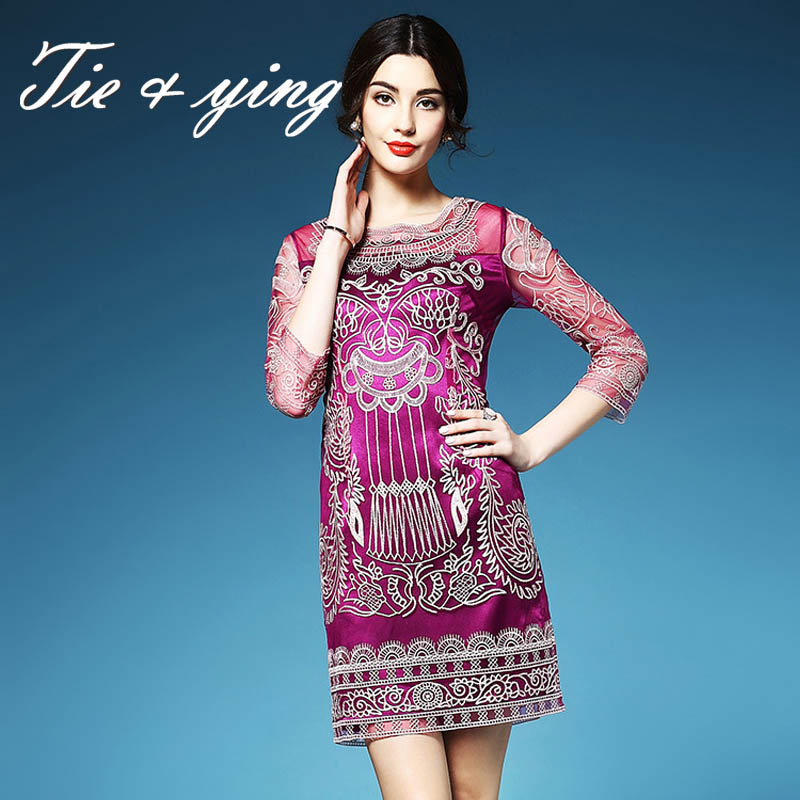 High-end vintage royal embroidered dresses 2016 summer new European fashion runway Purple/bule floral elegant mesh lace dress(China (Mainland))
