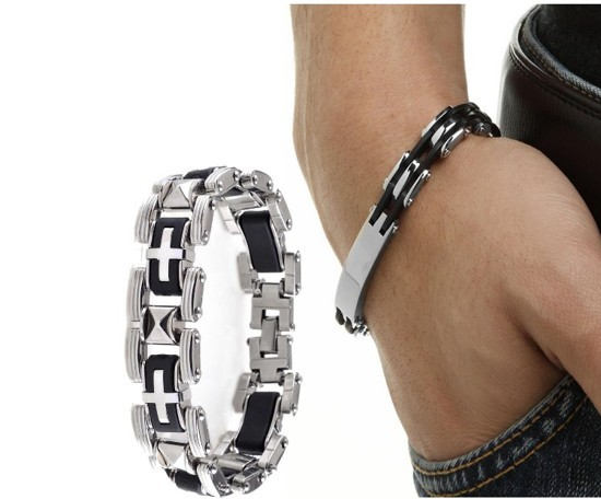 1x Men's Silver Stainless Steel Black Rubber Cool Bangle Bracelet Cuff Wristband(China (Mainland))