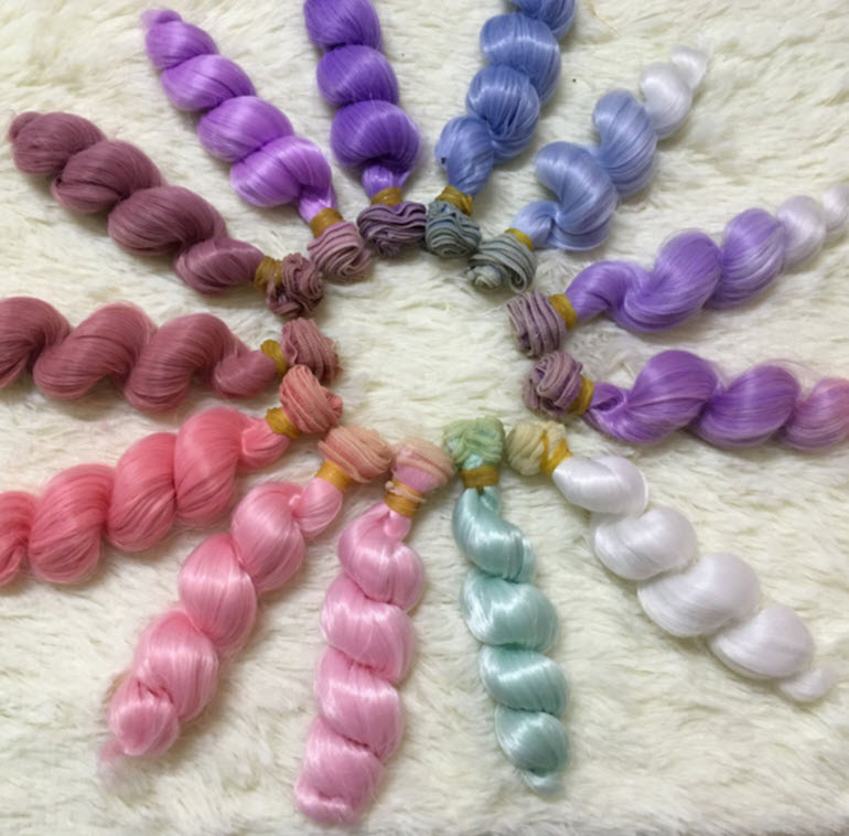 1pc 15*100cm Colourful DIY Wig For Barbie Doll For BJD Doll DIY Excessive-temperature Wire Handmade Curly Wigs Hair Curls Row