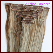 130g 10pcs 20in 50cm Long Straight Clip in Hair Extensions Heat Resistent Brown mix blonde hair piece