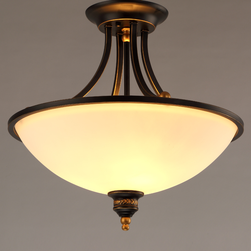 Frosted Glass Cover Gold Drawing Frame E27 Gold Color Metal Frame Ceiling Light(China (Mainland))