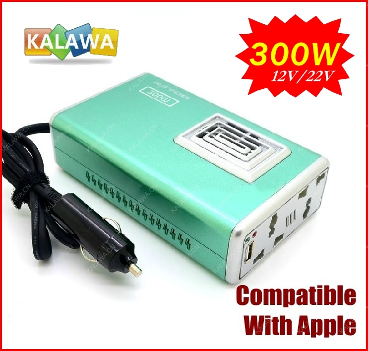 New Arrival 1PC 12V DC to AC 220V Car Auto Power Inverter Converter Adapter Adaptor USB 300W LY01 (Green) FREESHIPPING GGG(China (Mainland))