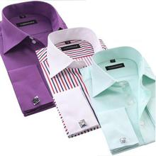 Black Striped Business Shirt Mens Long Sleeve Slim Fit French Cuff Shirts Luxury Formal Checked Tees For Gifts Free Shipping(China (Mainland))