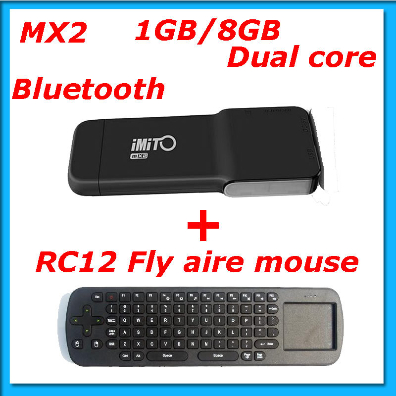Freeshipping ! Android 4.1.1 dual core 1G RAM 8G ROM Bluetooth iMito MX2 Mini PC+Fly air mouse RC12(Hong Kong)