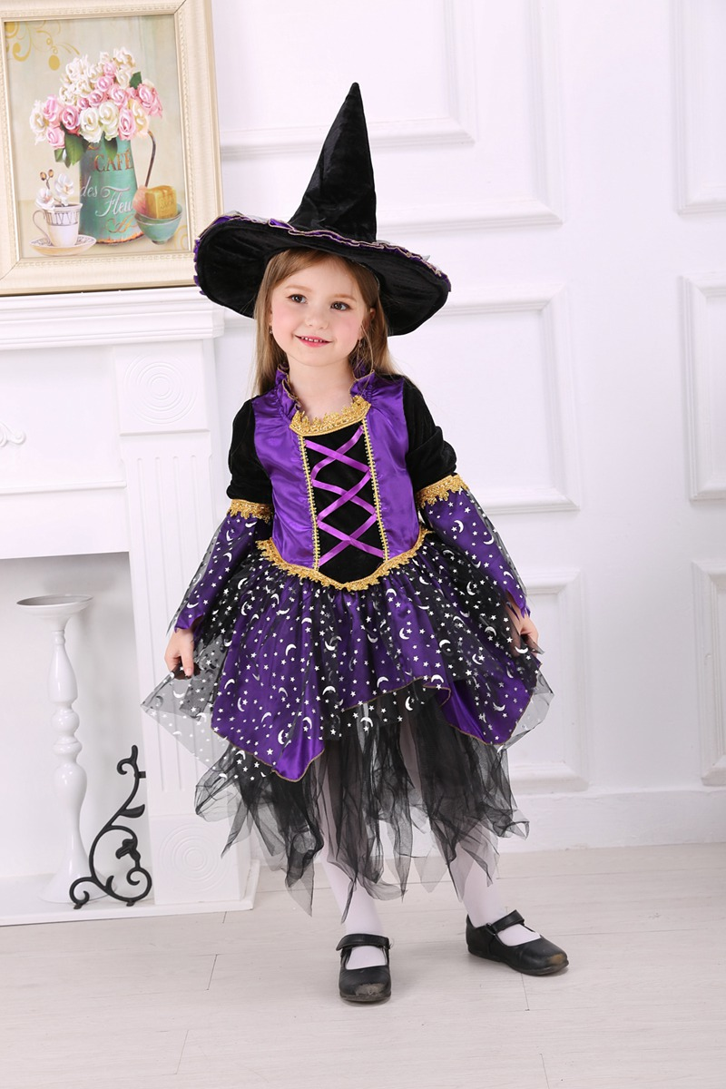 Purple Witch Costume Children Halloween Fancy Dress with Hat Girls Party Costume Clothing Bad Wick Costume Long Sleeve(China (Mainland))