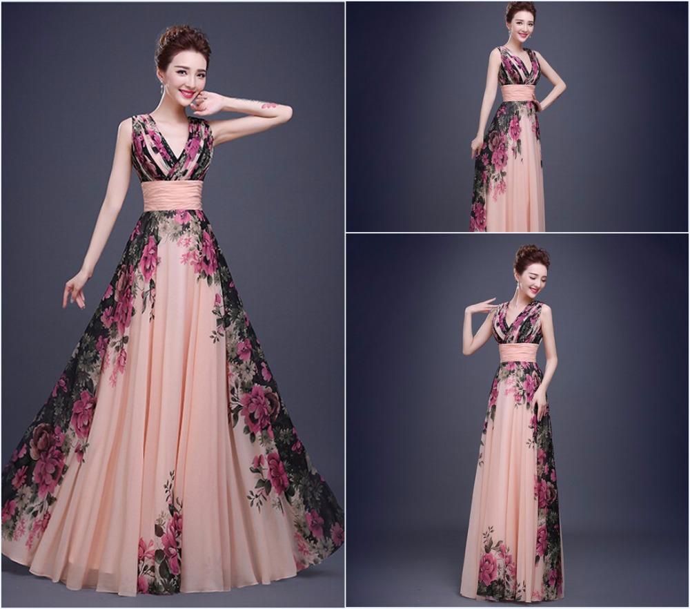 A-Line V-Neck Sleeveless Lace up Floor-Length Chiffon print evening dresses 2015 DP009(China (Mainland))