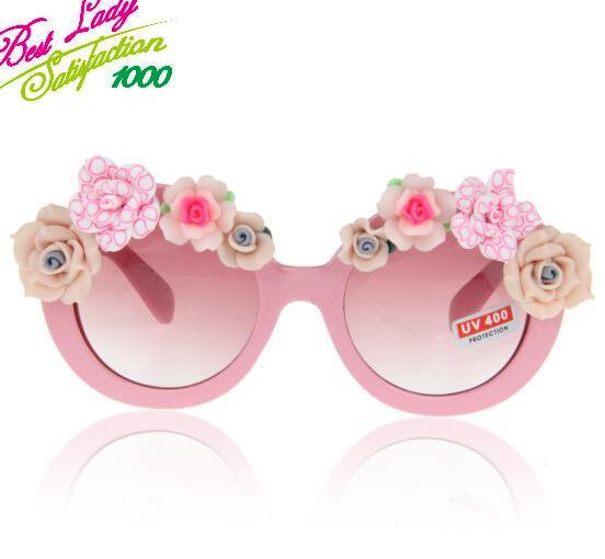 2014 New Arrival Fashion Statement Pink Flower Summmer Beach Sunglass Model Cat Sunglass Handmade Flower Holiday Gifts 8606(China (Mainland))
