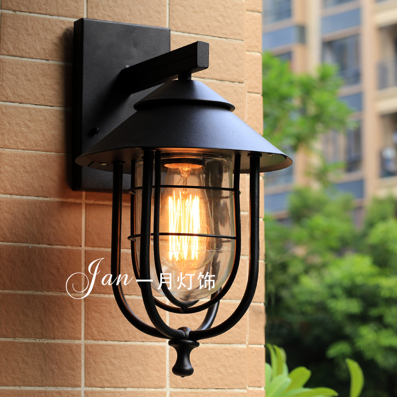 Nordic American country wrought iron wall lamp vintage outdoor wall lamp courtyard cafe bar warehouse cage villa corridor lights