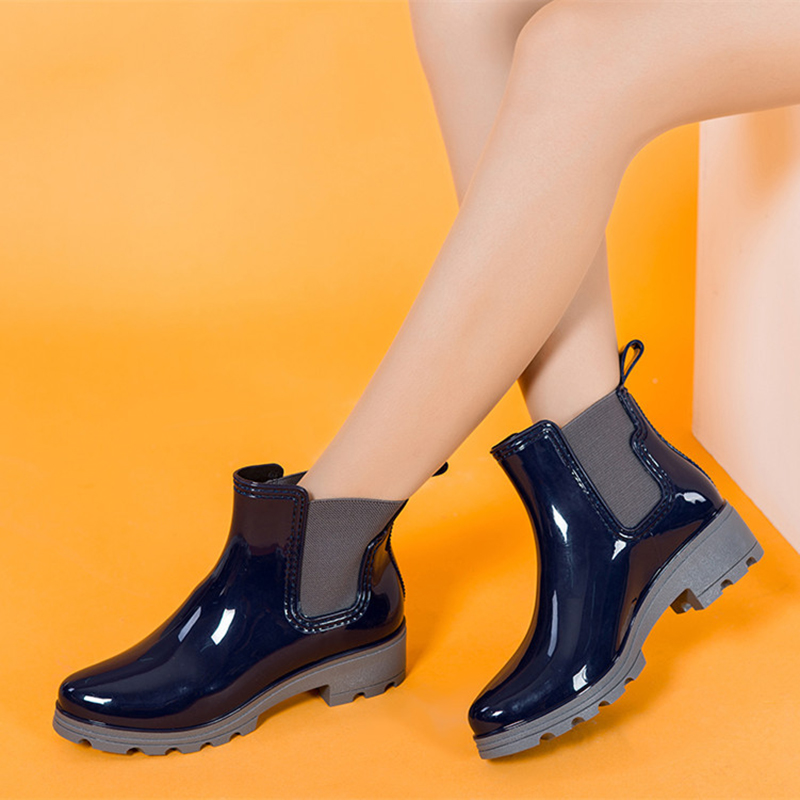 2016 Women's Rain Boots low-heeled boots Waterproof Fashion Jelly Women Ankle Rubber Boot elastic panel PVC Rainday Women Shoes(China (Mainland))