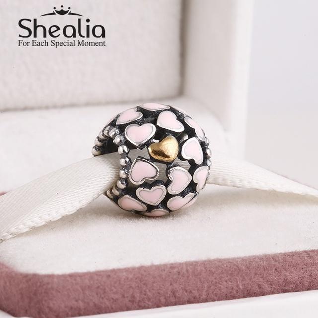 2014 новый 925 стерлингового серебра розовой эмалью шармов сердца с 14 К позолоченный в форме сердца для женщин известный браслеты diy изготовления ювелирных изделий