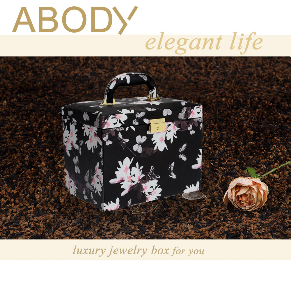 Popular Jewelry Box Abody Luxury Flower Pattern Leather Storage Case Watch Earring Necklace Ring Display Organizer WLS801(China (Mainland))