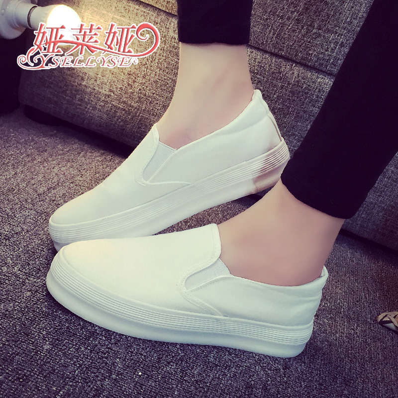 Free shipping 2016 new spring white canvas shoes soled shoes white shoe loafer pedal breathable shoes slip-on students<br><br>Aliexpress