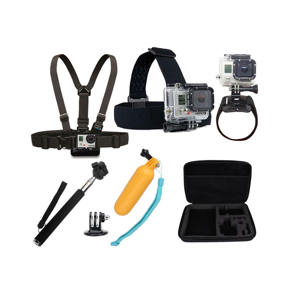 Sj4000 Accessories Head Belt+Chest Strap+Wrist Belt+Monopod+Adapter+Floating Hand Grip Mount+Containing Box gopro Hero 4/3+/3/2<br><br>Aliexpress